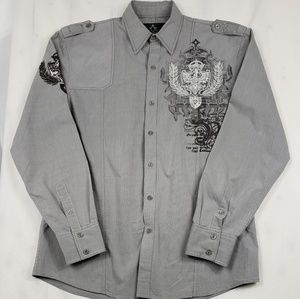Roar Embroidered Gray Button Down Shirt